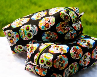 Sugar Skull Day Of The Dead Zippered Makeup Bag, Toiletry Bag, Pencil Pouch.