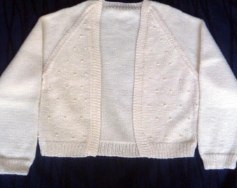 X-small Ivory cropped cardigan or bolero with pearl detail on front and 3/4 sleeves