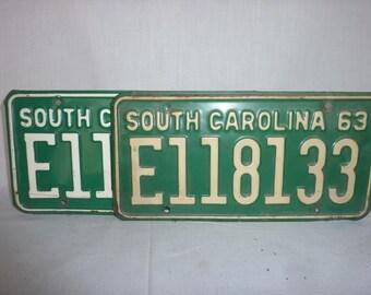 Vintage 1963 South Carolina PAIR License Plates