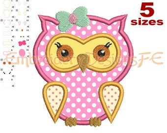 SALE !!! Owl Applique Design - 5 sizes - Machine Embroidery Design File
