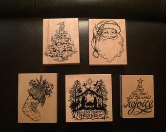 Christmas wood block set of 5