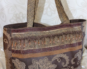 Beautiful Brocade Floral Beaded Upholstery Tote Bag Purse