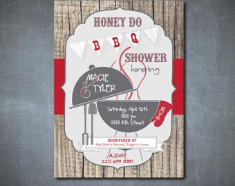 Honey Do BBQ Shower Invitation printable/Digital File/I do bbq invitation, rustic, couples shower, honey do shower/Wording can be changed