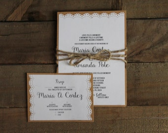 Rustic inspired wedding invitation.  Sold as finished product