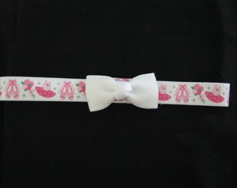 baby headband bright ballerina print with white bow