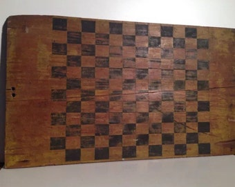 aafa antique 19th century checkerboard old yellow paint double sided gaming board rare
