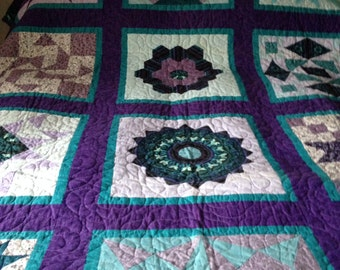 "Hand pieced sampler patchwork quilt 70"" X 90"""