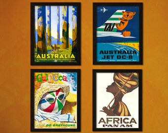 Set of 4 Beautiful Vintage Travel Poster - Australian Travel Poster Africa Travel  Retro Travel Australia Poster African Poster