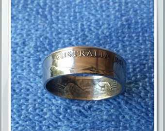 Australian Coin Ring Handcrafted 1991 Lyrebird Australian 10 Cent Coin Ring Size 8