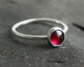 silver garnet ring, sterling silver stacking gemstone ring, red gemstone ring,