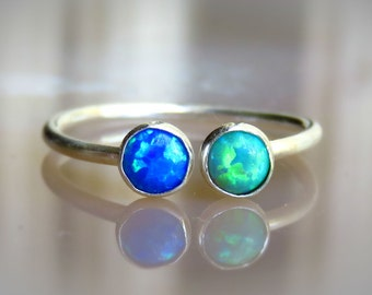 Sterling Silver Opal Ring, Colorful Opal Ring, Gemstone Stacking Ring, Thin Opal Ring