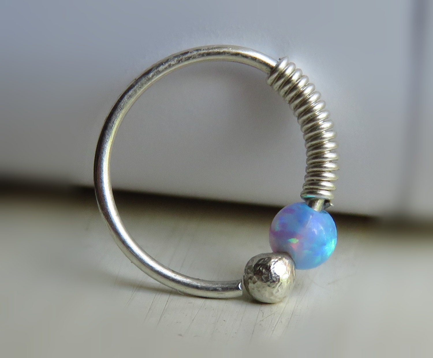 silver piercing opal helix piercing silver piercing hoop. Black Bedroom Furniture Sets. Home Design Ideas