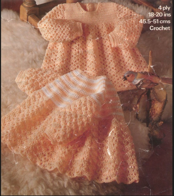 Crochet Baby Dress Vintage Pattern Angel top Lace matinee