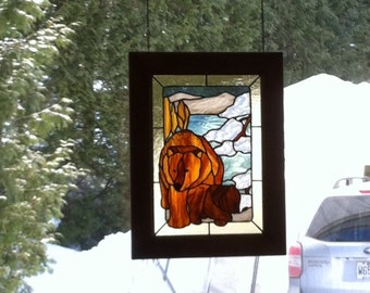 Stained glass, brown bear MOM with her baby.