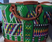 "Suitcase Guatemalan Embroidery Huipil and Soft Leather Tote Travel Bag Handbag Purse Weekender 14"" x 20"" NICE!"