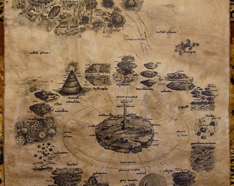 MTO Dungeons and Dragons HUGE map.Handdrawn. Multiverse. Fantasy map. Realistic (Please, read description)