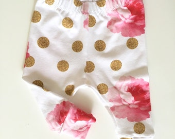 Flower glitz baby leggings // baby girl leggings // baby leggings // newborn leggings