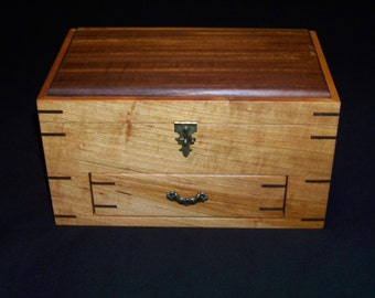 Handmade Cherry/Walnut Jewelry/Keepsake/Watch Box With Drawer
