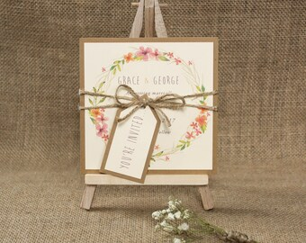 Boho Wedding Save The Date Card Floral Invite Rustic Wedding Invite Handmade Floral Save The Date Invitation Sample