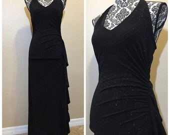 Vintage Black Halter Prom Dress/ 90s Prom Dress