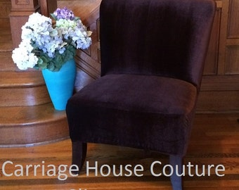 Slipcover Brown Stretch Velvet Chair Cover for Armless Chair, Slipper Chair, Accent Chair, Parsons Chair,Gold,Gray,Navy,Beige,Teal,Cranberry