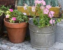 Galvanized Pail, Farmhouse Pail, Vintage Metal Bucket, Old Antique Pot, Flower Pot, Rustic Planter, Galvanized Bucket