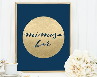Mimosa Bar Sign DIY / Wedding Bar / Navy and Gold Wedding Sign / Metallic Gold Sparkle Circle / Champagne Gold ▷ Instant Download JPEG