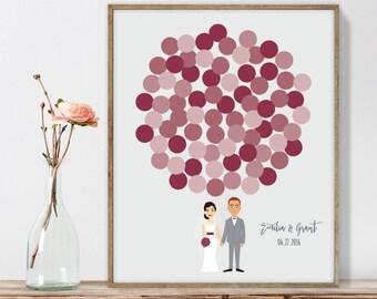 Wedding Guest Book Alternative Poster DIY  / Personalized Couple Illustration / Scarlet Red Balloons / Custom Illustration ▷ Printable PDF