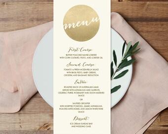 Gold Menu Card / Custom Menu / Gold Sparkle Glitter Wedding Menu / Metallic Gold and Cream ▷ Printable File {or} Printed & Shipped