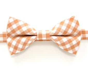Peach check bow tie,Peach  bow tie,Wedding bow tie,Easter Bow Ties,Party bow tie for Men ,Toddlers ,Boys,Baby