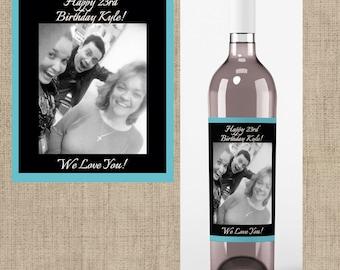 Birthday Photo Wine Labels - Birthday Favors -Birthday Wine Labels - Birthday Decor - Personalized Birthday Labels - Wine Labels