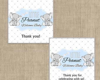 Little Peanut Baby Blue Baby Shower Printable Favor Tag - Our Little Peanut Baby Shower Favor Tags - Thank You Tag, Little Peanut Favor Tags