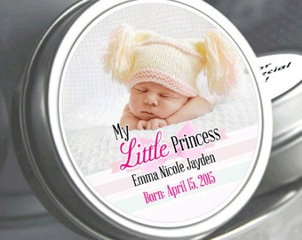 """12 - My Little Princess Baby Shower Photo Mint Tin Favors - Need a different quantity? Click on the """"choose total"""" tab to see all pricing"""