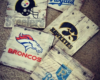 Handpainted MLB NFL UNIVERSITY sports signs on reclaimed wood