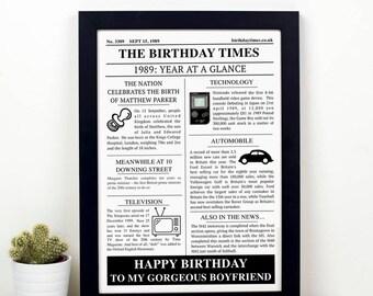 Personalised Birthday Newspaper Print
