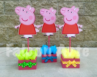 Peppa Pig centerpiece Wood handcrafted for 1st 2nd 3rd 4th 5th Birthday Centerpieces for cake guest table decoration centerpiece PER PIECE