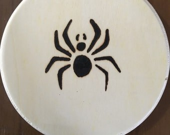 Spider picture, Spider, Wood Burned Spider, wall art, wall hanging, halloween decoration