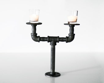 Industrial Iron Pipe Candle Holder