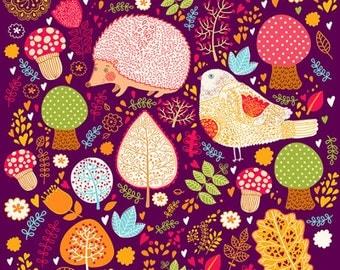Hedgehog and bird Print Poster. Fine art prints. Beautiful print for children and kids.