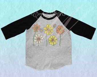 Floral flower shirt Toddler tshirt /raglan shirt kids clothing for 12M/2T/ 4T/ 6-10 years