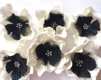 "fondant flowers, 12pcs 2"" edible flower cupcake toppers white black wedding cake topper decorations birthday bridal shower anniversary"