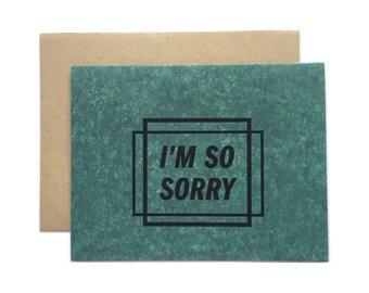 "Letterpress Sorry Card, ""I'm so sorry"", modern, geometric"