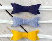 Navy Blue Felt Bow Headband Set, Baby Bow Headband, Grey Felt Bow Headband, Mustard Yellow Felt Bow Headband, Baby headband, Bow Headband