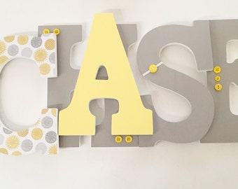 Custom Nursey Letters, Yellow and Grey Wall Letters, Wood Nursery Letters