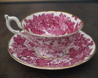 Coalport Bone China Cup & Saucer - Red Leaves