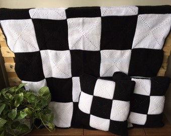 Handmade Crochet Blanket Throw Afghan, crochet cushions,  lounge gift bedding gift, Black & White, Patchwork, Handmade gift, Etsy Australia