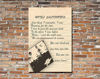Hotel California by The Eagles 13x19 Lyrics Print, Poster, Wall Art