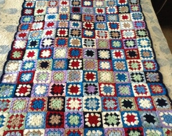 Granny Square Handmade Lap Blanket Throw ~ As Is