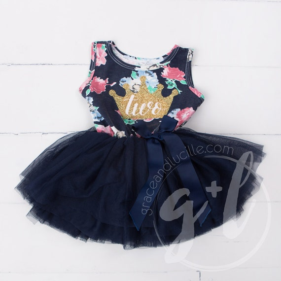 Second Birthday Floral Outfit Dress With Crown And Navy Blue