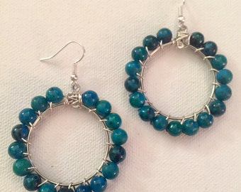 Round the world hoop earrings